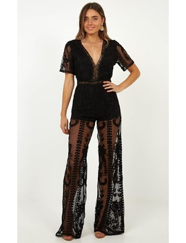 Trick Question Jumpsuit In Black Lace by Showpo Fashion