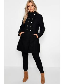 Plus Military Wool Look Coat by Boohoo
