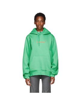 Green Diagonal Hoodie by Ader Error