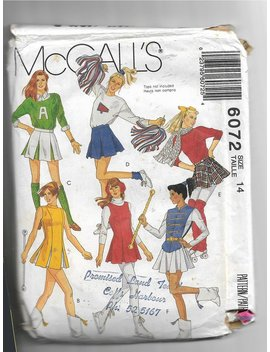 Vintage 1992, Cheerleader, Skating Costumes, Mc Calls Pattern 6072, Sewing Pattern, Cut And Complete by Etsy