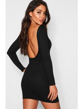 Jumbo Rib Long Sleeve Backless Mini Dress by Boohoo