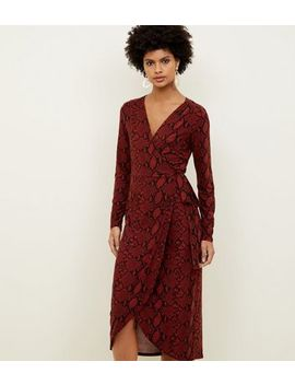 Red Snake Print Soft Touch Wrap Dress by New Look