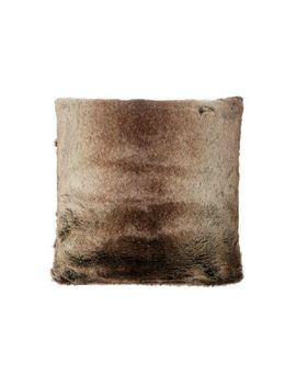 Brown Stripe Faux Fur Cushion by Linea