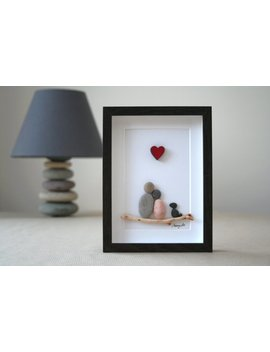 Pebble Art Couple With Dog, Pebble Art Picture, Pebble Art Family Of 2, Pebble Art Couple With Pet, Family With Pet, Couple Gift, Wedding by Etsy