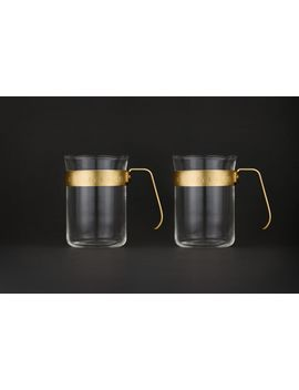Set Of 2 Metal Frame Glass Cups, Midnight Gold by Barista & Co