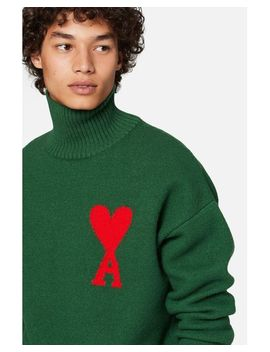 Men's Green Ami De Coeur Funnel Collar Oversized Sweater by Ami