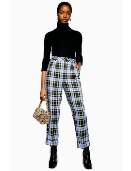 Purple Check Peg Trousers by Topshop