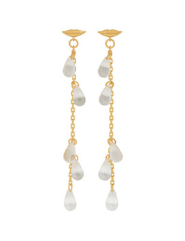 Gold Lip Multiple Drop Earrings by Alexachung