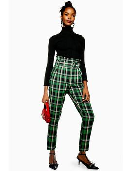 Green Check Trousers by Topshop