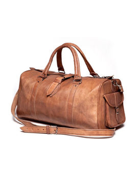 Men's Vintage Genuine Leather Holdall Travel Weekend Cabin Sports Duffel Bag Tan by Ebay Seller