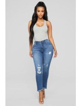 Melina Distressed Ankle Jeans   Dark Denim by Fashion Nova