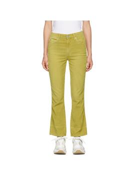 Yellow Bella Corduroy Jeans by Amo