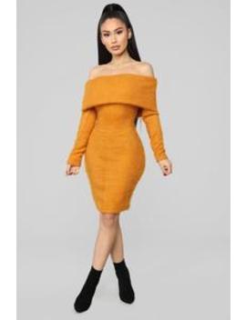 Bear Hugs Sweater Midi Dress   Mustard by Fashion Nova