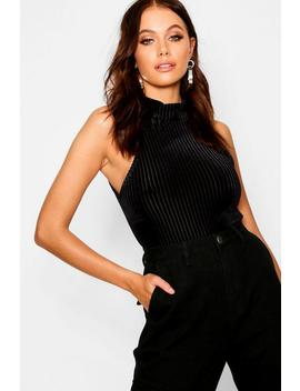 Burnout Stripe Velvet Turtle Neck Crop Top by Boohoo