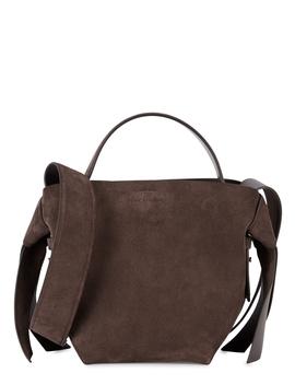 Musubi Mini Brown Suede Shoulder Bag by Acne Studios