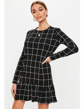 Black Grid Frill Hem Smock Dress by Missguided