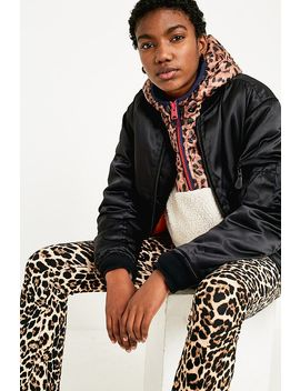 Uo Leopard + Borg Popover Jacket by Urban Outfitters