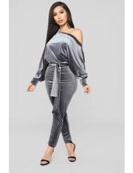 Pro Lounger Velvet Jumpsuit   Silver by Fashion Nova