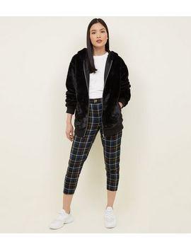 Black Faux Fur Zip Front Hoodie by New Look