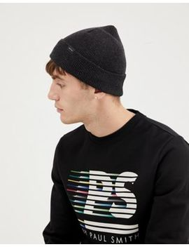 Paul Smith Wool Beanie In Dark Gray by Paul Smith