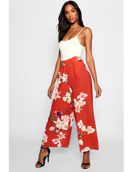 Tall Oriental Floral Print Culottes by Boohoo