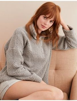 Aerie Fuzzy Mock Neck Sweatshirt by American Eagle Outfitters