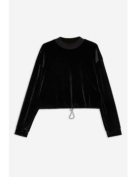 Petite Velour Funnel Neck Sweatshirt by Topshop