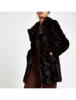 Dark Brown Faux Fur Swing Coat by River Island