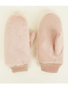 Pink Faux Fur Mittens by New Look