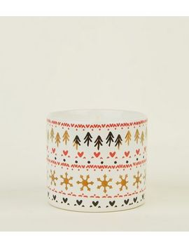 Red Festive Print Chocolate Marshmallow Scented Candle by New Look