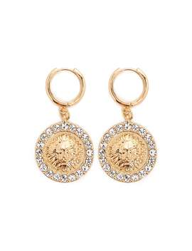 Rhinestone & Lion Drop Earrings by Forever 21