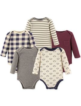 Hudson Baby® 5 Pack Football Long Sleeve Bodysuits In Red by Hudson Baby