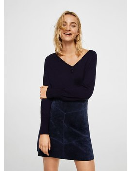 Jupe Cuir Coutures by Mango
