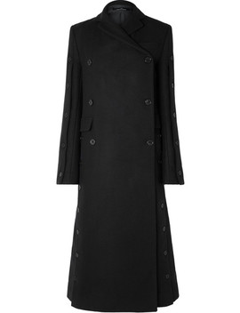 Button Embellished Double Breasted Wool Blend Coat by Rokh