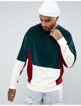 Asos Design   Sweat Shirt Oversize Avec Motif Color Block En Velours by Asos