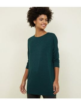 Dark Green Glitter Stripe Oversized Top by New Look