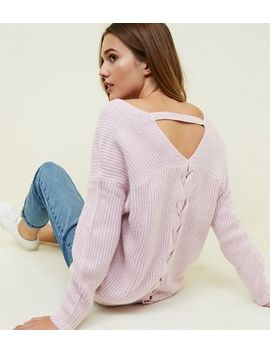 Lilac Ribbed Lattice Back Jumper by New Look