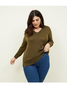 Curves Khaki V Neck Longline Jumper by New Look