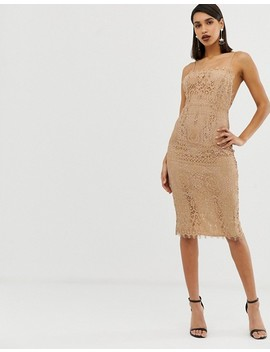 Asos Design Square Neck Midi Pencil Dress In Lace by Asos Design