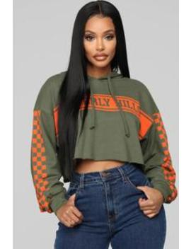 That's Where I Want To Be Sweatshirt   Olive Combo by Fashion Nova