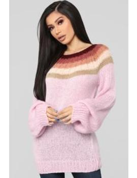 All Blocked In Sweater   Pink by Fashion Nova