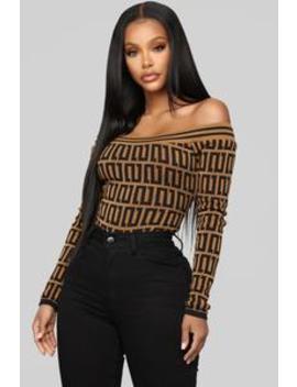 Gotta Have You Near Bodysuit   Camel/Combo by Fashion Nova