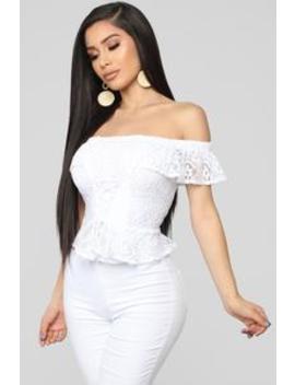Lace Up Adore Top   White by Fashion Nova