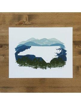 North Carolina State Print   Blue Ridge by Etsy