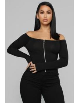 Never On Time Top   Black by Fashion Nova