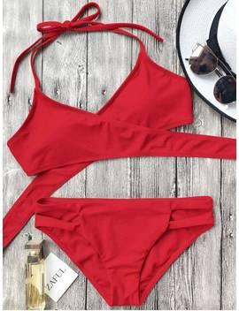 Cutout Halter Wrap Bikini Set   Red S by Zaful
