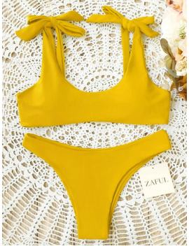 Scoop Tie Shoulder Padded Bathing Suit   Yellow Xl by Zaful