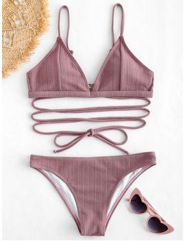 Zaful Tie Ribbed Bikini Set   Wisteria Purple S by Zaful