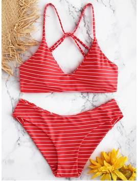 Caged Striped Bikini Set   Red S by Zaful