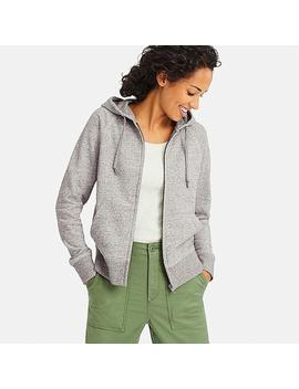 Women Sweat Long Sleeve Full Zip Hooded Sweatshirt by Uniqlo